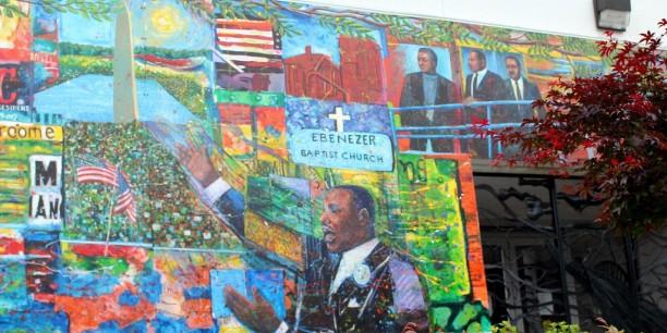 The Martin Luther King, Jr. Memorial Mural (Dreams, Visions and Change) von Künstler Louis Delsarte, Professor für Kunst und Menschenrechte am Morehouse College. Foto: ©flickr/wallyg