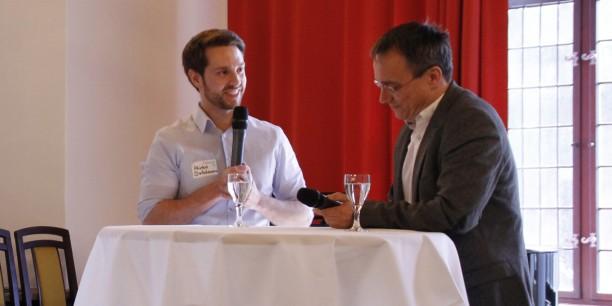 Videoblogger und Journalist Mirko Drotschmann alias MrWissen2go interviewte Michael Panse, Erfurter Stadtrat und ehemaliger Generationenbeauftragter in Thüringen, zum demografischen Wandel im Freistaat. Foto: ©labconcets