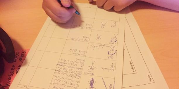 ...und übertrugen diese dann in ihr Storyboard - das Drehbuch zum Kurzfilm. Foto: ©Jan Grooten