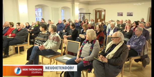 Zur Exiltagung kamen mehr als 50 TeilnehmerInnen in das Zinzendorfhaus in Neudietendorf. Screenshot, mdr Thüringen Journal, 3.2.17