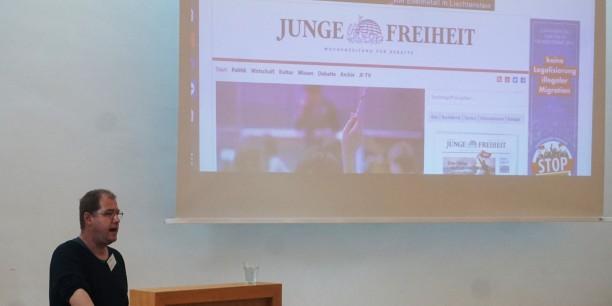 Wie sieht die parallele Medienwelt des Rechtspopulismus in Deutschland aus? David Begrich von Miteinander e.V. aus Magdeburg gab einen Überblick. Foto: ©EAT/Grooten