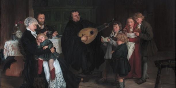 """Gustav Spangenbergs Gemälde """"Luther im Kreise seiner Familie musizierend"""", 1875. (no©/Public Domain)"""