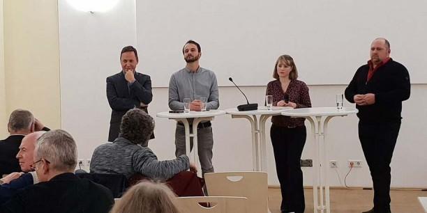 Über Digitalisierung und Kirche diskutierten (v.l.) Willi Wild, Prof. Dr. Tobias Rothmund, Dr. Annika Schreiter und Dr. Karsten Kopjar. Foto: © C. Hartung