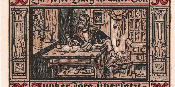 Notgeld Eisenach 1921 (50 Pfennig): Junker Jörg übersetzt das Neue Testament
