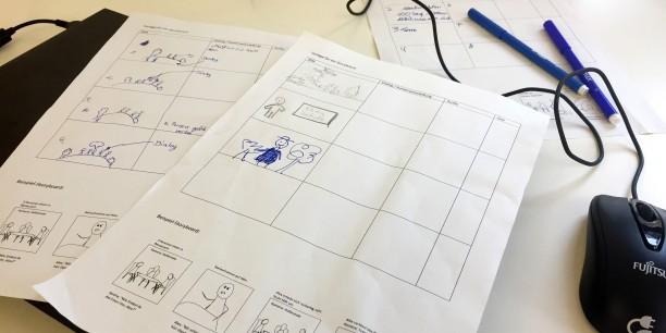 Das Storyboard dient als Grundlage für die Planung, was im Kurzfilm passieren soll. Foto: © EAT