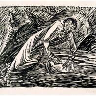 Foto: ©Ernst Barlach, Schreibender Prophet (Johannes auf Patmos), 1919, Holzschnitt; Foto: Studio Kirsch, Lutherstadt Wittenberg (Bildvorlage: Stiftung Christliche Kunst Wittenberg)