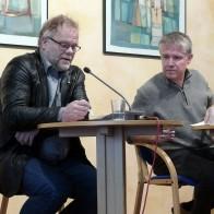Diskussion der Wittenberger Erklärung zur EKD-Synode: Stephan Schack (li.), Sebastian Kranich (re.) Foto: © Berndt Püschel